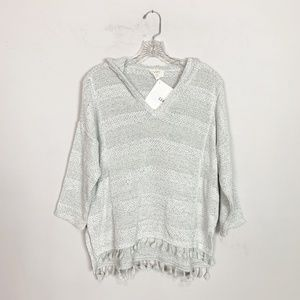 LOFT heather grey stripe fringe hem sweater XS